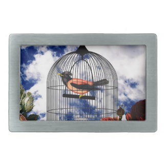 Vintage bird in the cage rectangular belt buckles