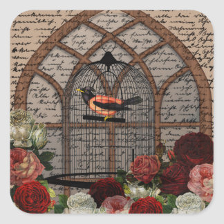 Vintage bird in the cage square sticker