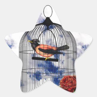 Vintage bird in the cage star sticker