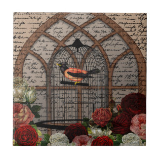 Vintage bird in the cage tile