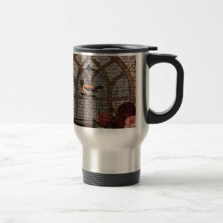 Vintage bird in the cage travel mug