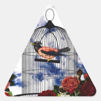 Vintage bird in the cage triangle sticker