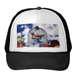 Vintage bird in the cage trucker hat