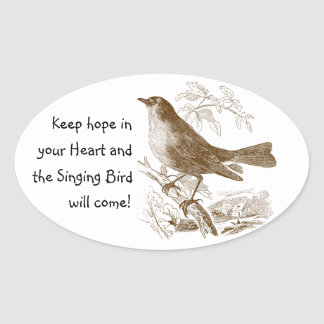 Vintage Bird Keep Hope in your Heart Oval Stickers