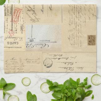 Vintage Bird Nest French Postcard Towel