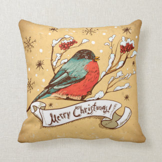 Vintage Bird on Snow Clad Branch Merry Christmas Throw Pillow