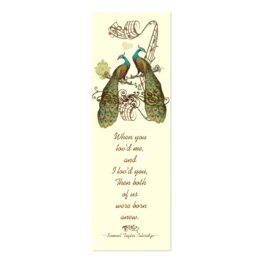 Vintage Bird Peacock Wedding Tags Business Card