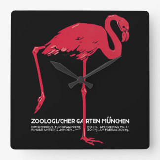 Vintage Bird Pink Flamingo at Germany Munich Zoo Wall Clocks