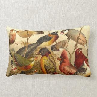 vintage bird print lumbar pillow