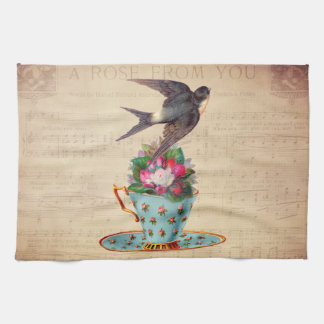 Vintage Bird, Roses, and Teacup Kitchen Towel