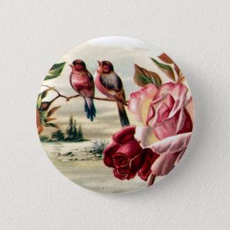 Vintage Bird Roses Button