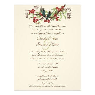 Vintage Bird Teal & Red Wedding Invitations Letterhead