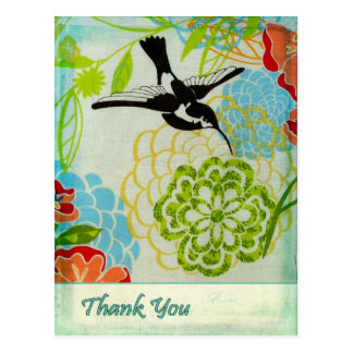 Vintage Bird Thank You Postcard