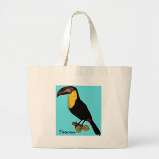 VINTAGE BIRD TOTE BAG, YELLOW-THROATED TOUCAN