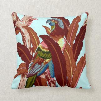 Vintage Bird Tropical Flowers Florida Hawaii Decor Throw Pillow
