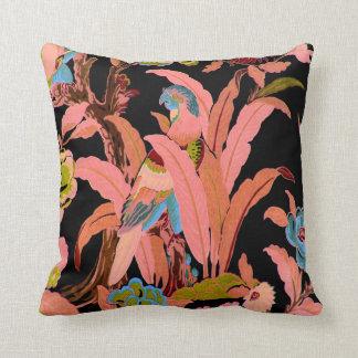 Vintage Bird Tropical Flowers Florida Hawaii Decor Throw Pillows