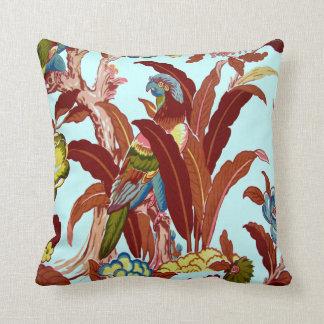 Vintage Bird Tropical Flowers Florida Hawaii Decor Pillow