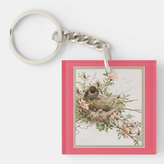 Vintage Bird Watching Nest Keychain
