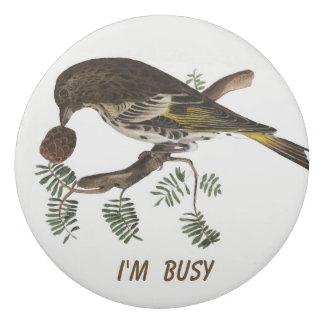 Vintage-bird with pinecone eraser