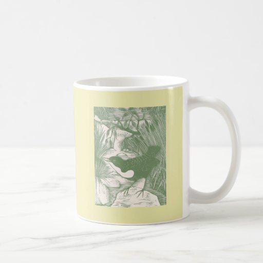 Vintage Bird Woodcut Illustration Coffee Mugs