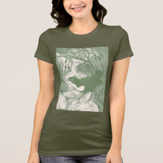 Vintage Bird Woodcut Illustration T-Shirt