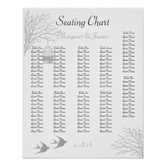 Vintage Birdcage Bare Branch Swallow Seating Chart