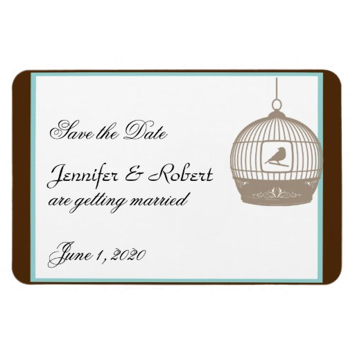 Vintage Birdcage Brown Aqua Wedding Save the Date Vinyl Magnet