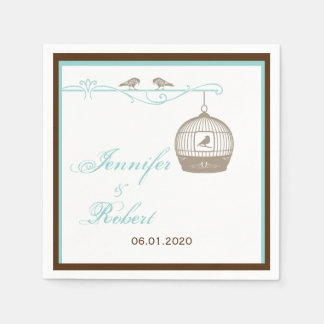 Vintage Birdcage in Brown and Aqua Wedding Paper Napkins