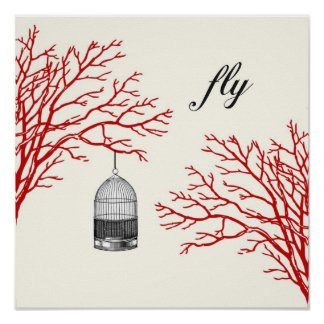 "Vintage Birdcage Red Branches ""fly"" Poster"