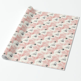 "Vintage Birdcage Red Branches ""fly"" Wrapping Paper"
