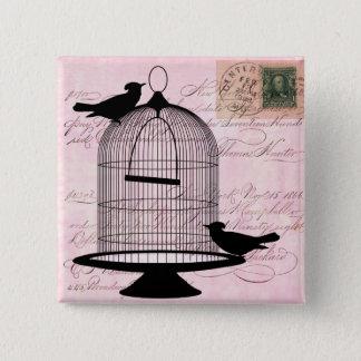 Vintage Birdcage Silhouette 2 Inch Square Button