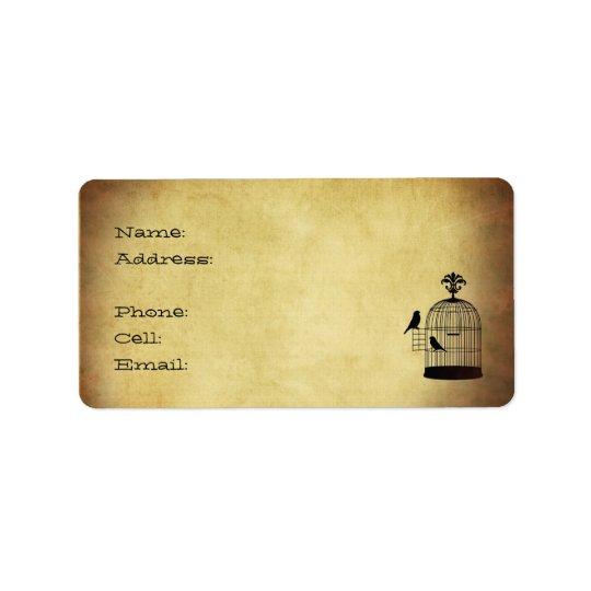 vintage birdcage stamp. label