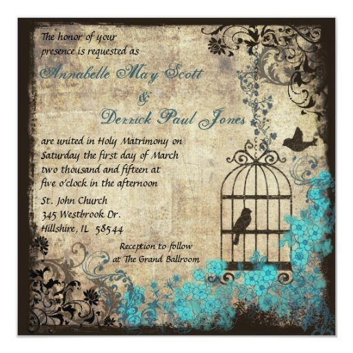 Vintage Birdcage Wedding Invitation Blue 525quot Square