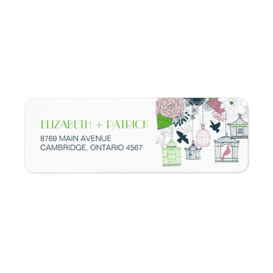 Vintage Birdcages Floral Wedding Address Label