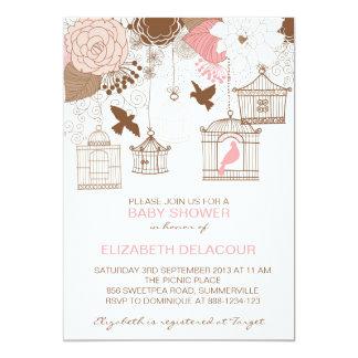 Vintage Birdcages & Flowers Baby Shower Invitation