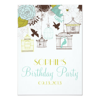 Vintage Birdcages & Flowers Birthday Invitations