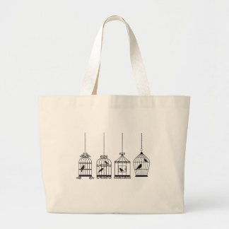 Vintage birdcages with cute birds large tote bag