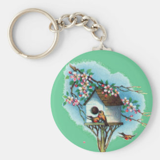 Vintage Birdhouse Basic Round Button Keychain