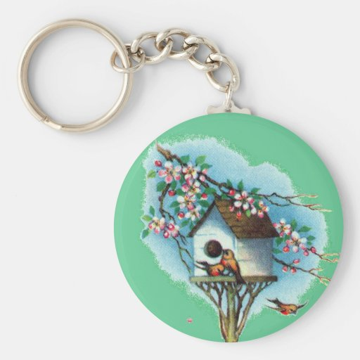 Vintage Birdhouse Key Chain