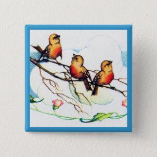Vintage Birds 2 Inch Square Button