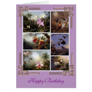 Vintage Birds and Flowers Collection Birthday Card