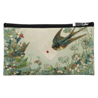 Vintage Birds and Flowers Cosmetic Bag