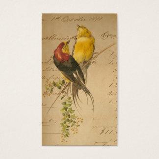Vintage Birds and Ledger Paper Business Card