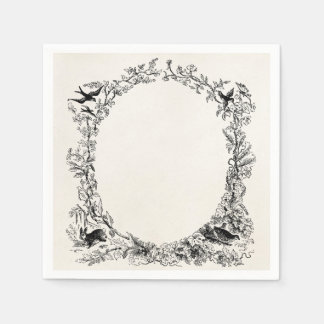 Vintage Birds and Rabbit Personalized Nature Frame Disposable Napkin