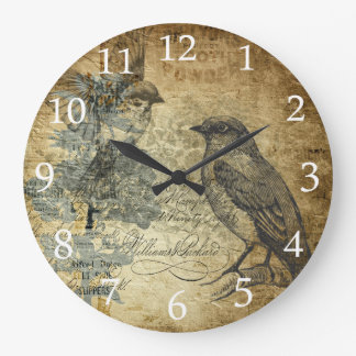 Vintage Birds and White Numbers Wall Clocks