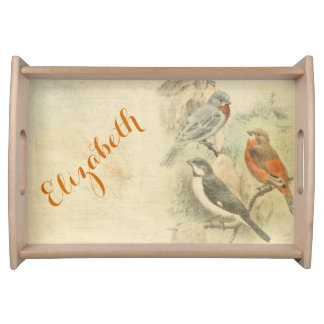 Vintage Birds and writing Serving Tray