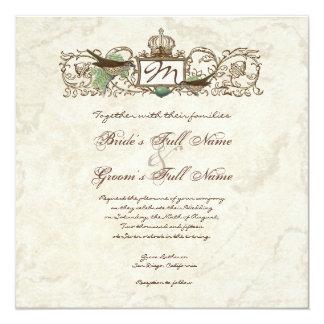 "Vintage Birds, Blue Egg - Wedding Invitation 5.25"" Square Invitation Card"