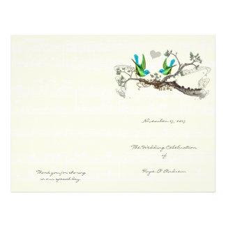 Vintage Birds Blue & Green Wedding Program