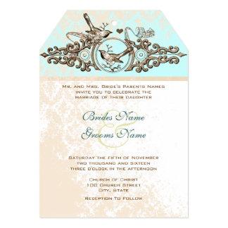 Vintage Birds Bronze Iron Work  Wedding Invitation