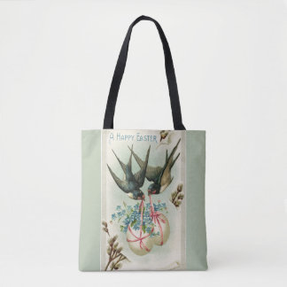 Vintage Birds Carrying Easter Eggs Green Tote Bag